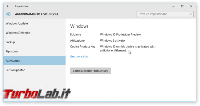 Guida novità Windows 10 1511, aggiornamento novembre (autunno 2015) - Windows 10.1 update digital entitlement