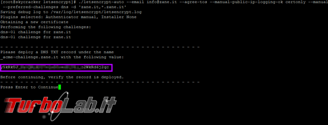 "Guida ottenere certificato HTTPS ""wildcard"" gratis Let's Encrypt (*.miosito.com)"