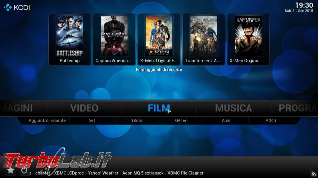 """Guida rapida Kodi (XBMC) - PC come """"media center"""" salotto - kodi_05_filmrecenti"""