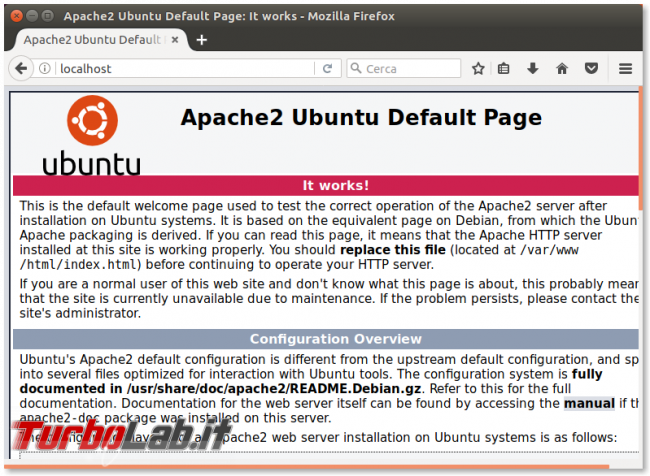 Guida server web: come installare Apache Linux Ubuntu/CentOS - apache2 ubuntu default page