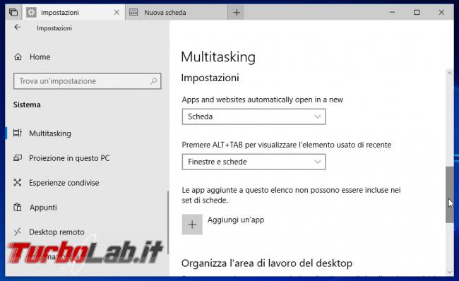 """Guida Set (""""tab"""") Windows 10: come usare nuova interfaccia schede"""