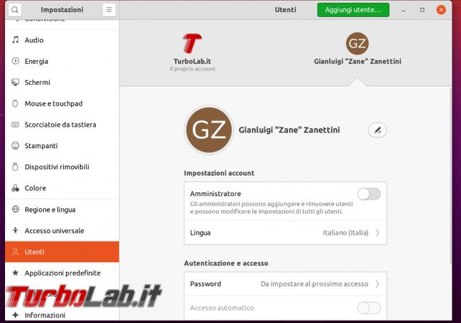 Guida Ubuntu 20.04: come creare/aggiungere nuovo account utente (protetto password)
