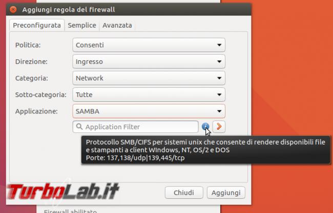 Guida Ubuntu: come configurare Uncomplicated Firewall (ufw) permettere accesso file condivisi rete locale (LAN)