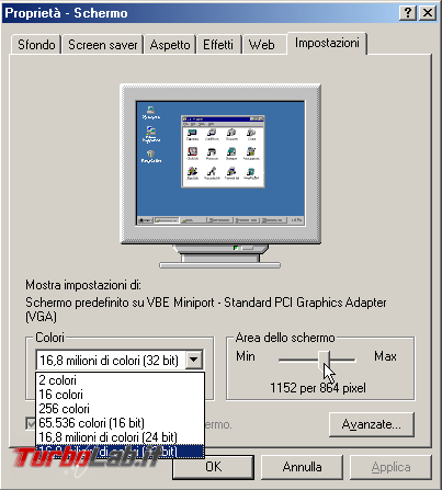 Guida VirtualBox: installare/configurare Windows 95/98/ME driver video funzionante ed alta risoluzione (macchina virtuale VM)