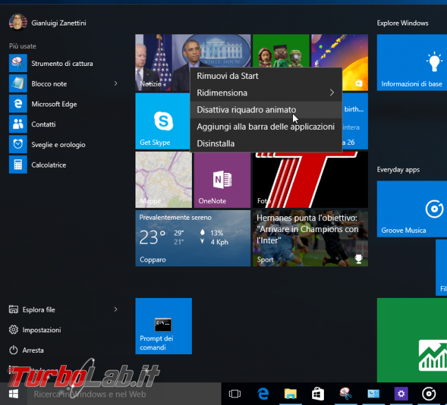 Guida Windows 10: 10 trucchi personalizzare menu Start - windows 10 start menu turn off live tile