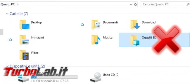 """Guida Windows 10: aprire """"Esplora file"""" elenco dischi (""""Questo PC"""") invece """"Accesso rapido"""" - spotlight oggetti 3d esplora file"""