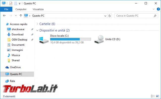 """Guida Windows 10: aprire """"Esplora file"""" elenco dischi (""""Questo PC"""") invece """"Accesso rapido"""" - windows 10 esplora file explorer questo pc"""