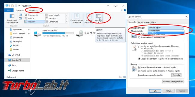 """Guida Windows 10: aprire """"Esplora file"""" elenco dischi (""""Questo PC"""") invece """"Accesso rapido"""" - windows 10 esplora file explorer questo pc default"""