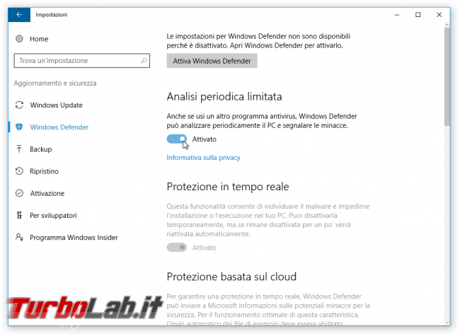 "Guida Windows 10: attivare ""secondo antivirus"" grazie Analisi periodica limitata - windows defender analisi periodica limitata"