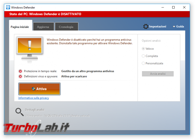 "Guida Windows 10: attivare ""secondo antivirus"" grazie Analisi periodica limitata - Windows Defender inattivo"