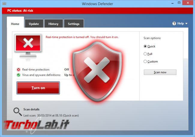 "Guida Windows 10: attivare ""secondo antivirus"" grazie Analisi periodica limitata - windows_defender_alert_artwork"