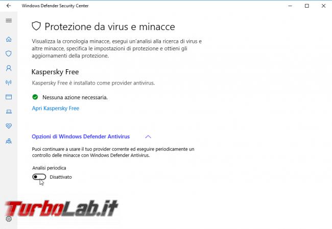 Guida Windows 10: attivare secondo antivirus grazie Analisi periodica Windows Defender