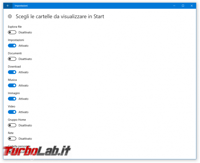 Guida Windows 10: come aggiungere cartelle personali menu Start (Documenti, Download, Musica, Immagini, Video, Gruppo Home, Rete, Cartella personale)
