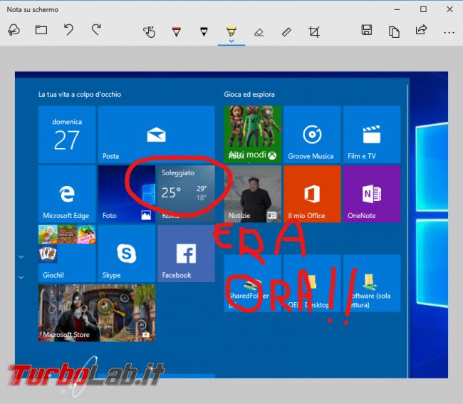 "Guida Windows 10: come aprire ""Cattura note"" tasto Stamp (screenshot, ""Nota schermo"")"