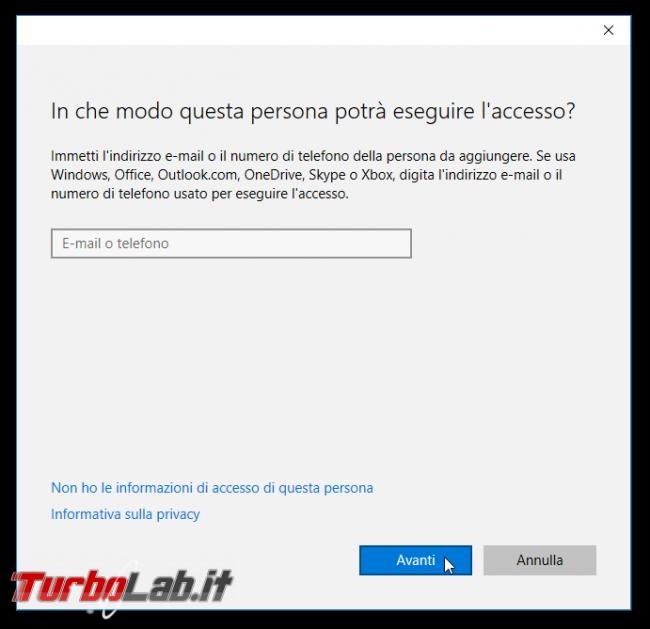 Guida Windows 10: come creare nuovo account utente locale/Microsoft protetto password PC condiviso più persone