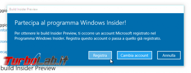 "Guida Windows 10: come diventare ""Windows Insider"" ricevere aggiornamenti anteprima - windows 10 windows update windows insider scelta account"