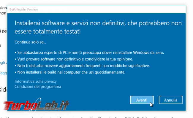 "Guida Windows 10: come diventare ""Windows Insider"" ricevere aggiornamenti anteprima - windows insider disclaimer 01"