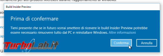 "Guida Windows 10: come diventare ""Windows Insider"" ricevere aggiornamenti anteprima - windows insider disclaimer 02"