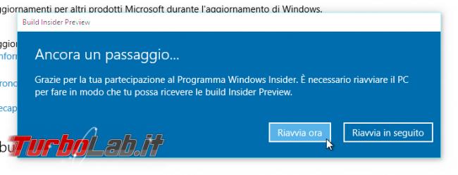 """Guida Windows 10: come diventare """"Windows Insider"""" ricevere aggiornamenti anteprima - windows insider reboot"""