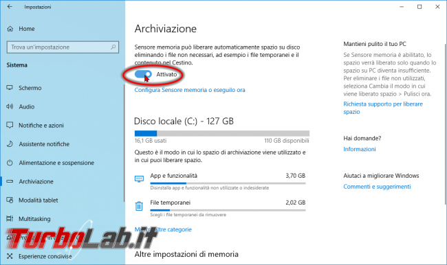 Guida Windows 10: come pulire disco/SSD automaticamente Sensore memoria (Storage sense)