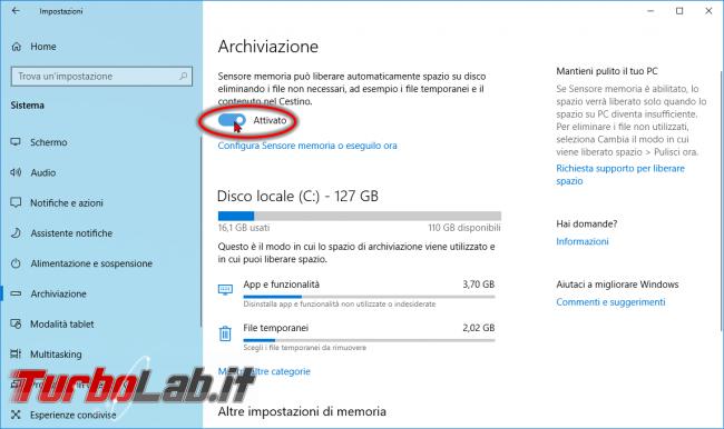 Guida Windows 10: come pulire disco / SSD liberare spazio automaticamente Sensore memoria (Storage sense)