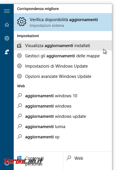 Guida Windows 10: come rimuovere patch/aggiornamento bloccare reinstallazione automatica - start visualizza aggiornamenti installati