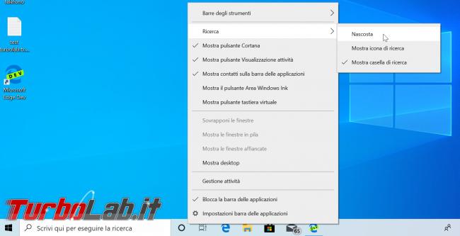 """Guida Windows 10: come rimuovere ricerca (""""Cortana"""") Barra applicazioni - windows 10 opzioni barra ricerca"""