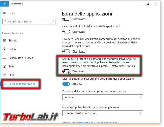 Guida Windows 10: come ripristinare Prompt comandi (cmd) come predefinito posto PowerShell menu Win+X (Start) ed Esplora file (Apri finestra comando qui)
