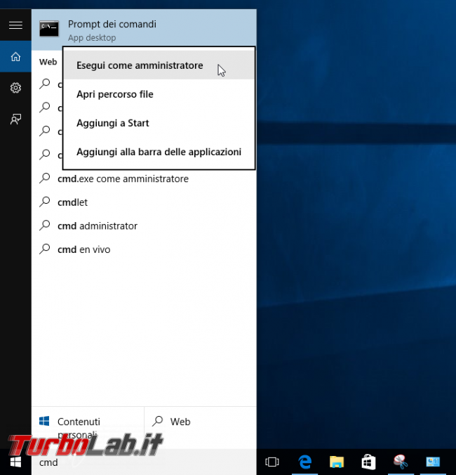 Guida Windows 10: come ripristinare Prompt comandi (cmd) come predefinito posto PowerShell menu Win+X (Start) ed Esplora file (Apri finestra comando qui) - cmd esegui come amministratore