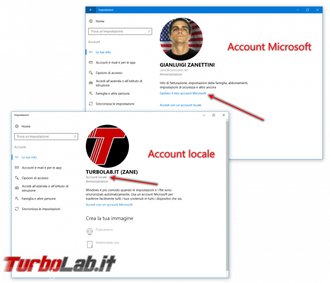 "Guida Windows 10: come scoprire se sto usando ""account Microsoft"" oppure ""account locale""? - windows 10 account locale account Microsoft"