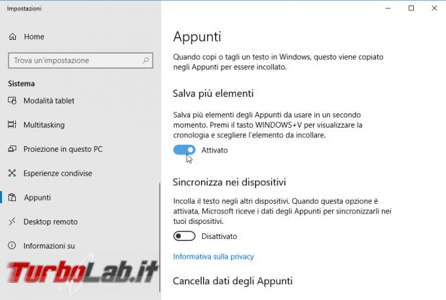 Guida Windows 10: come usare nuovo copia-incolla potenziato (Cronologia appunti sincronizzazione multi-PC/smartphone)