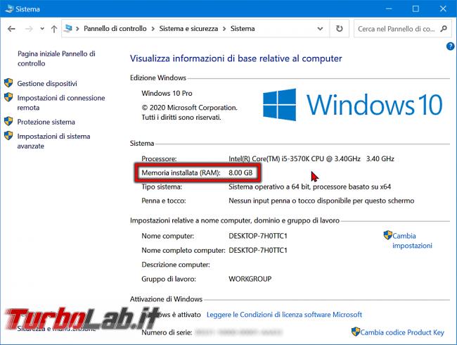 Guida Windows 10: come vedere quanta memoria RAM ha computer (RAM installata PC) - windows 10 pannello di controllo sistema ram