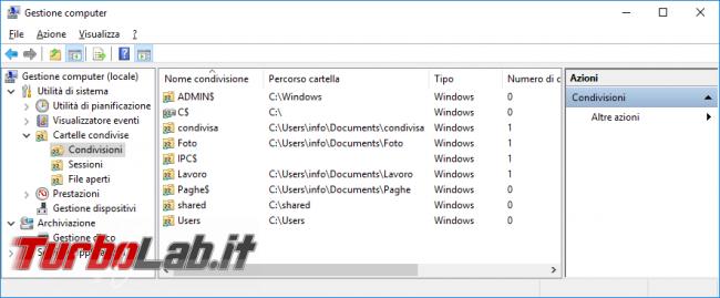 Guida Windows 10: come visualizzare tutte cartelle condivise rete locale (LAN) PC corrente