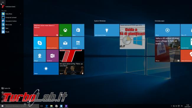 """Guida Windows 10: cos'è """"Modalità tablet"""" (""""Continuum"""") come attivarla - schermata start Windows 10 open"""