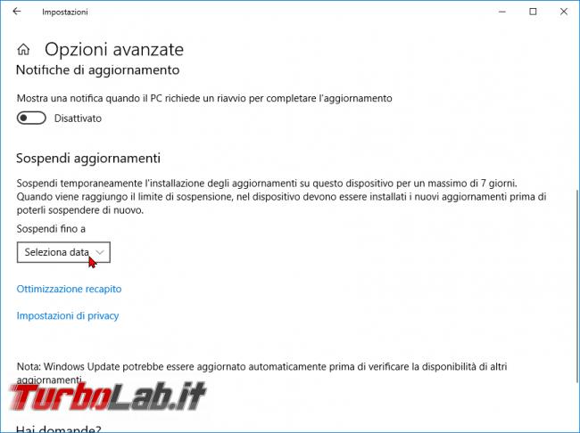 Guida Windows 10 Home/Pro: come bloccare/disattivare aggiornamenti automatici Windows Update