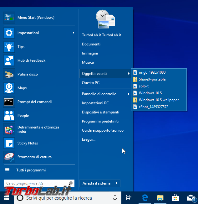 Guida Windows 10: ripristinare menu Start Windows 7