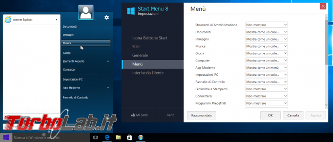 Guida Windows 10: ripristinare menu Start Windows 7 - iobit start menu 8