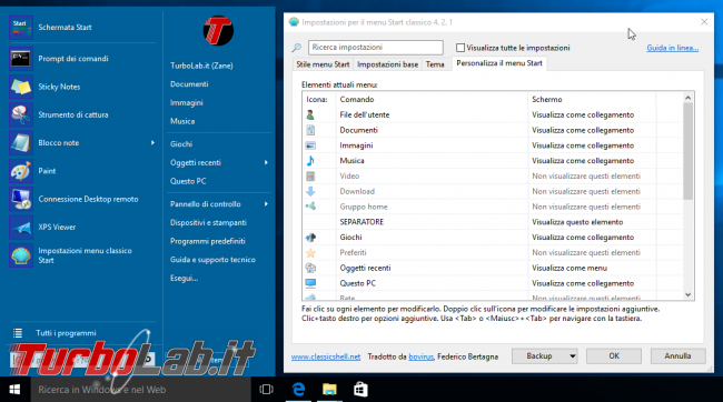 Guida Windows 10: ripristinare menu Start Windows 7 - windows 10 classic shell