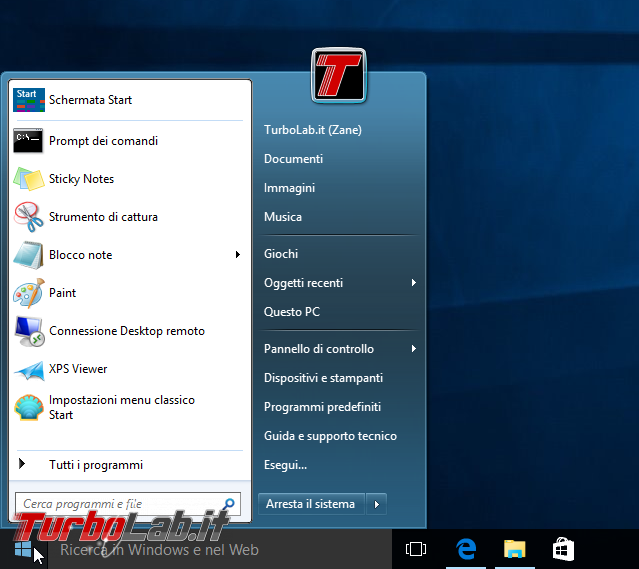 Guida Windows 10: ripristinare menu Start Windows 7 - windows 10 classic shell aero