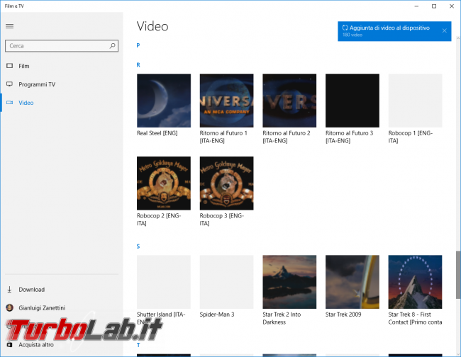 "Guida Windows 10: supporto MKV (""Matroska""), H.265 tutte altre novità ambito audio/video - windows 10 film e tv libreria"