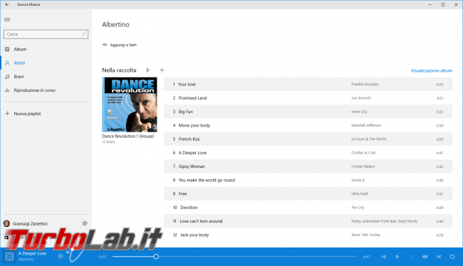 "Guida Windows 10: supporto MKV (""Matroska""), H.265 tutte altre novità ambito audio/video - windows 10 groove musica audio libreria"