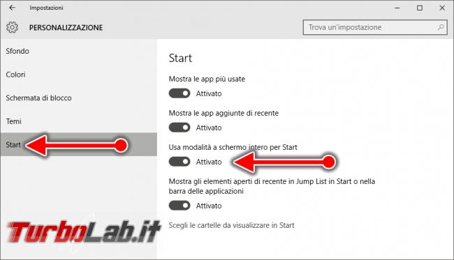"Guida Windows 10: usare schermata Start (""Start screen"") Windows 8 PC/notebook - windows 10 impostazioni schermata start"