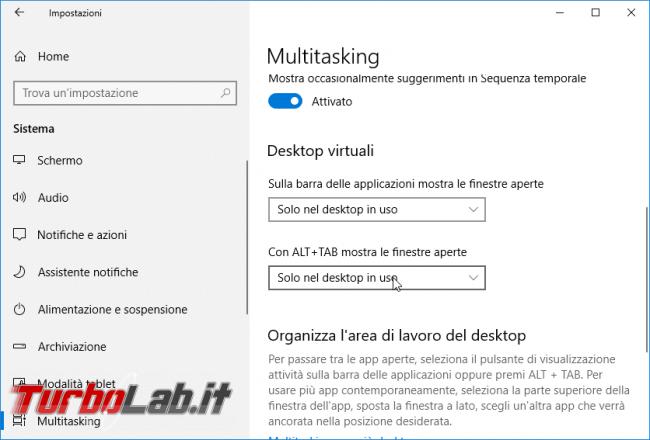 """Guida Windows 10: utilizzare meglio Desktop Virtuali (""""Virtual Desktop"""") """"Visualizzazione attività"""" (""""Task view"""")"""