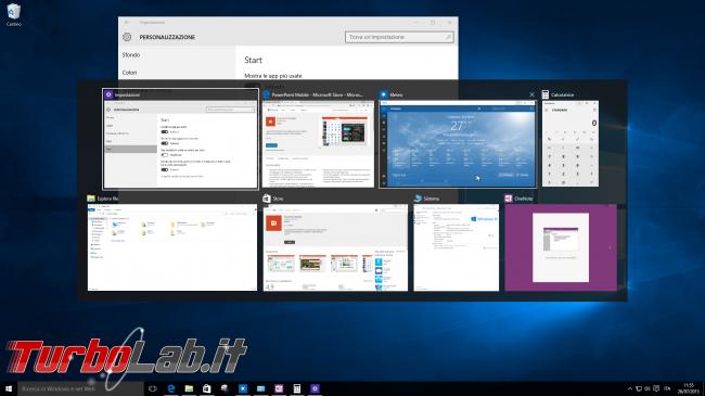 """Guida Windows 10: utilizzare meglio Desktop Virtuali (""""Virtual Desktop"""") """"Visualizzazione attività"""" (""""Task view"""") - windows 10 alt-tab"""