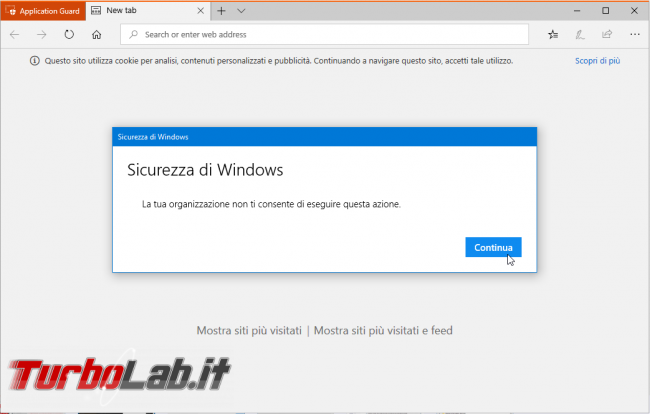 Guida Windows Defender Application Guard: come attivare/consentire copia-incolla, Preferiti, stampa download Microsoft Edge