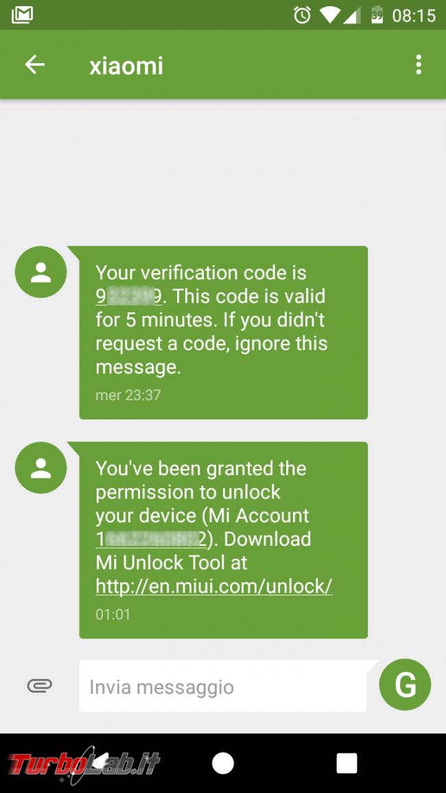 Guida Xiaomi Mi, Redmi, Note, Pro: come ottenere codice MIUI.com sbloccare (unlock) bootloader Android, senza errore Couldn't verify device - Current account is different from the account info on the device - Screenshot_20170108-081558