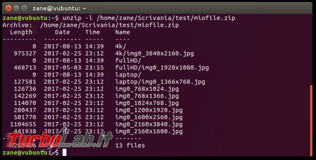 Guida zip unzip Linux: come zippare (comprimere, creare) unzippare (estrarre) archivi .zip linea comando Ubuntu CentOS - errore bash: unzip: command not found