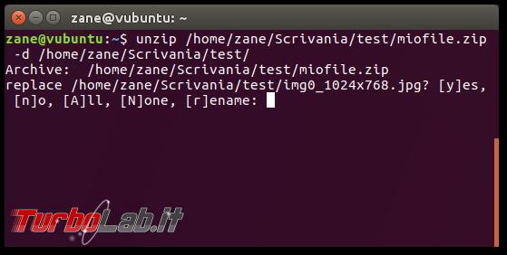 Guida zip unzip Linux: come zippare (comprimere, creare) unzippare (estrarre) archivi .zip linea comando Ubuntu CentOS - errore bash: unzip: command not found - unzip prompt overwrite