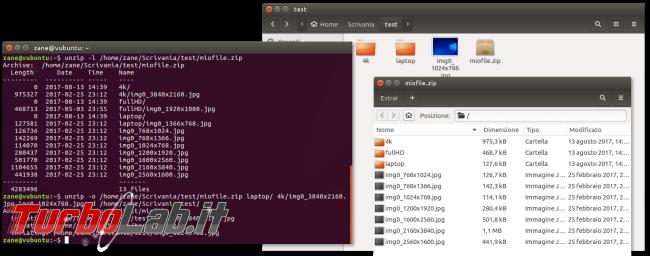 Guida zip unzip Linux: come zippare (comprimere, creare) unzippare (estrarre) archivi .zip linea comando Ubuntu CentOS - errore bash: unzip: command not found - unzip selezione file