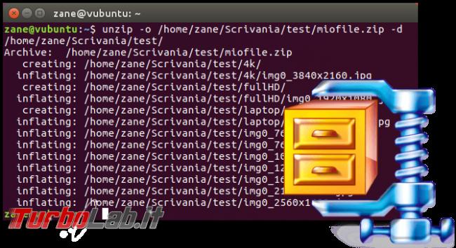 Guida zip unzip Linux: come zippare (comprimere, creare) unzippare (estrarre) archivi .zip linea comando Ubuntu CentOS - errore bash: unzip: command not found - zip unzip linux spotlight